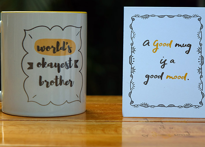 world's okayes brother printed on white coffee mug with custom note