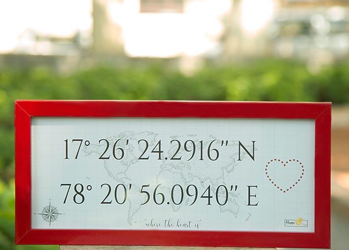 rectangular red frame with latitude and longitude co ordinates printed