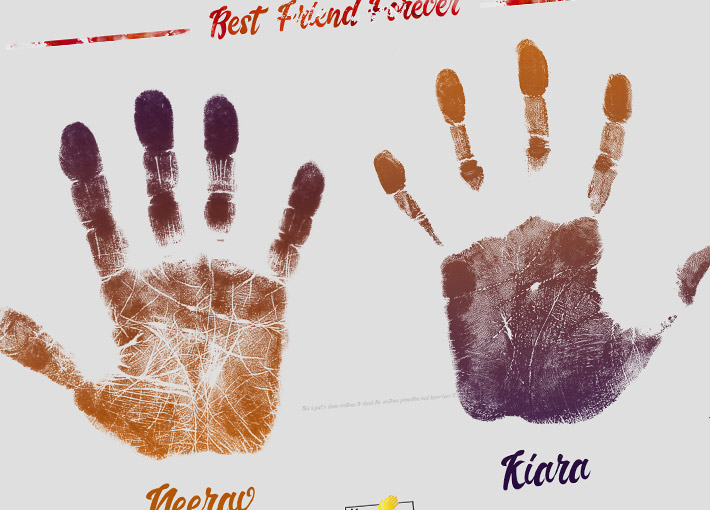 best friends forever handprints with names inside a frame