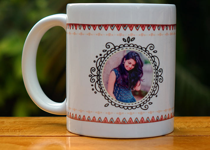 Girl picture in boho patterns on white coffee mug gift
