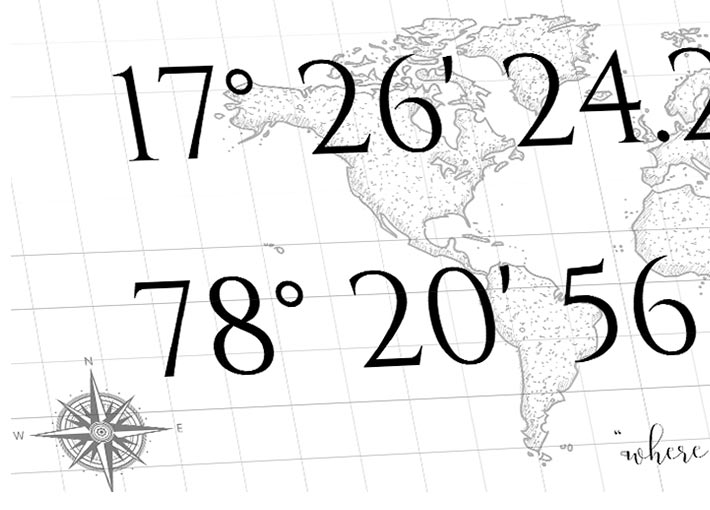 close up view of compass with latitude and longitude printed on a thick sheet