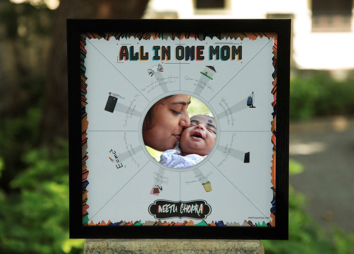 all in one mom text with picture and colour clip arts inside a black frame