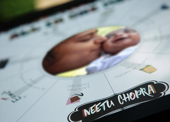 aditya chopra custom name printed on a thick sheet placed inside a black frame